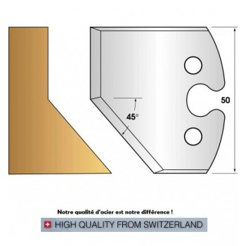 Paire de fers de toupie hauteur 50 mm n° 205 - chanfrein 45°