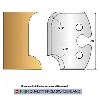 Paire de fers de toupie hauteur 50 mm n° 206 - rayon et congé 12mm