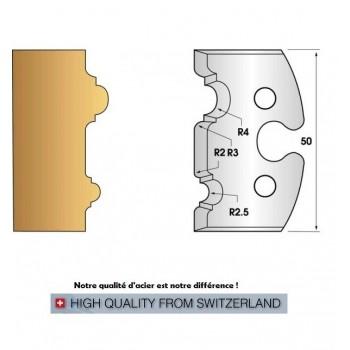Paire de fers de toupie hauteur 50 mm n° 211 - moulure double astragale