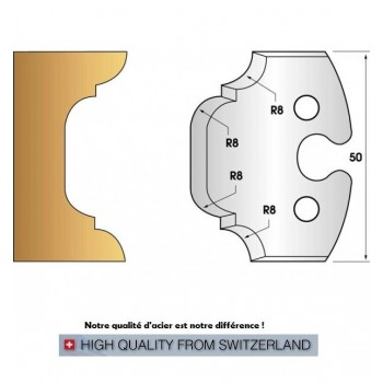 Paire de fers de toupie hauteur 50 mm n° 214 - congé et quart de rond 8mm