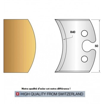 Paire de fers de toupie hauteur 50 mm n° 215 - rayon 40mm