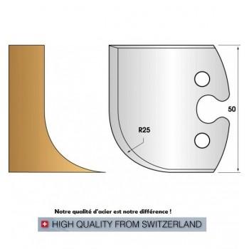 Paire de fers de toupie hauteur 50 mm n° 218 - rayon 25mm