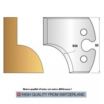 Paire de fers de toupie hauteur 50 mm n° 219 - quart de rond rayon 25mm