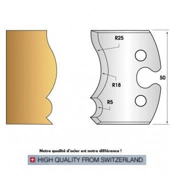 Paire de fers de toupie hauteur 50 mm n° 222 - grain d'orge et moulure