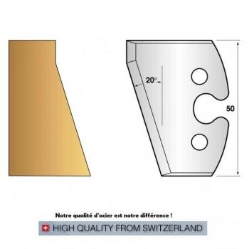 Paire de fers de toupie hauteur 50 mm n° 230 - chanfrein 20°