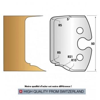 Paire de fers de toupie hauteur 50 mm n° 231 - double plate bande