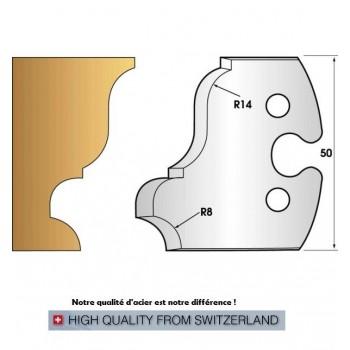 Paire de fers de toupie hauteur 50 mm n° 235 - grande doucine