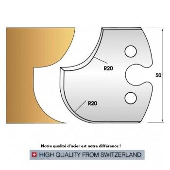 Paire de fers de toupie hauteur 50 mm n° 238 - congé et quart de rond rayon 20mm
