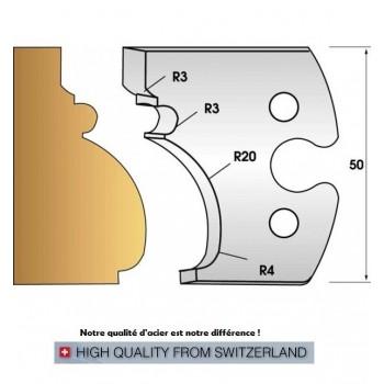 Paire de fers de toupie hauteur 50 mm n° 243 - moulure régence grand cadre