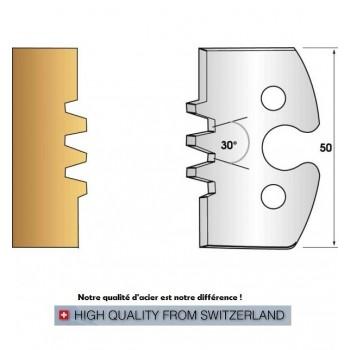 Paire de fers de toupie hauteur 50 mm n° 246 - enture assemblage trapèze