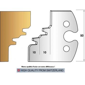 Paire de fers de toupie hauteur 50 mm n° 253 - Abatage 45° double