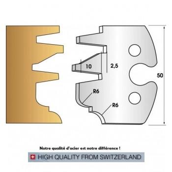 Paire de fers de toupie hauteur 50 mm n° 257 - profil/contre-profil, rayon et congé