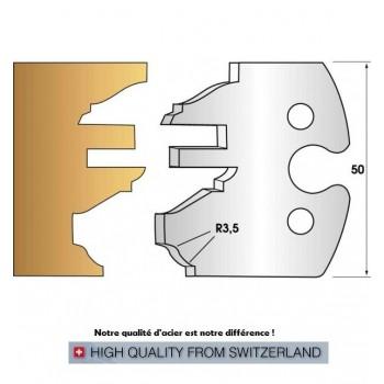 Paire de fers de toupie hauteur 50 mm n° 258 - profil/contre-profil rustique