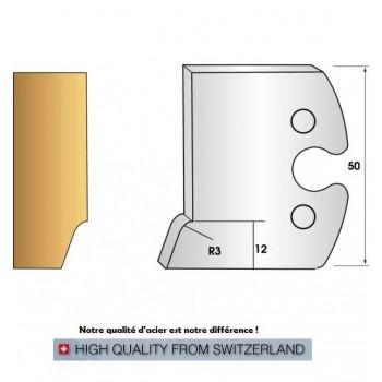 Paire de fers de toupie hauteur 50 mm n° 269 - moulure pente