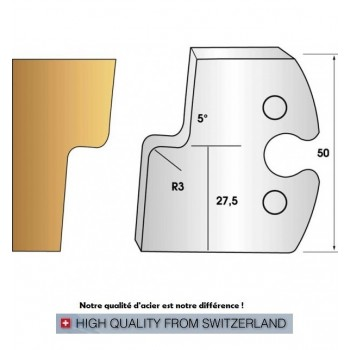 Paire de fers de toupie hauteur 50 mm n° 270 - moulure pente 5°
