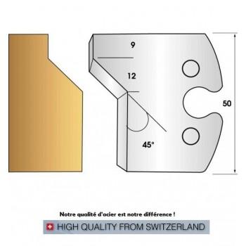 Paire de fers de toupie hauteur 50 mm n° 271 - chanfrein 45°