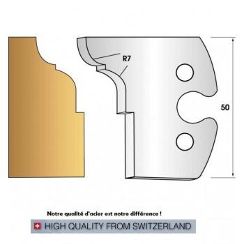 Paire de fers de toupie hauteur 50 mm n° 273 congé et quart de rond rayon 7mm