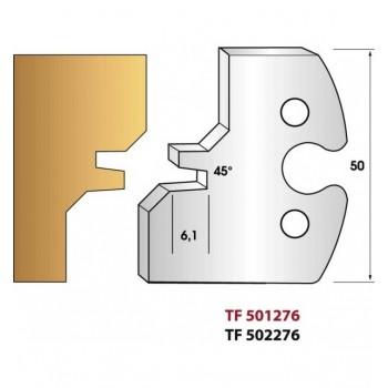 Paire de fers de toupie hauteur 50 mm n° 276 - assemblage 45°