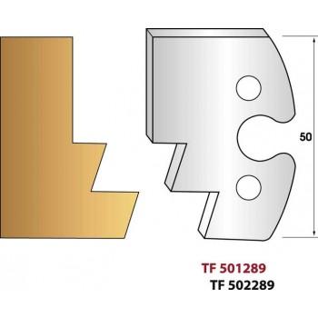 Paire de fers de toupie hauteur 50 mm n° 289 - Profilage embrevé pente 20°