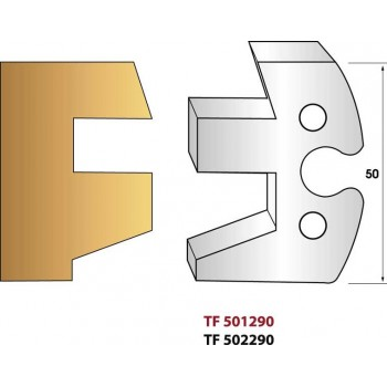 Paire de fers de toupie hauteur 50 mm n° 290 - Profilage intérieur pente 20°