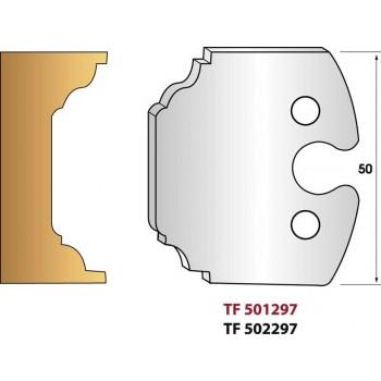 Paire de fers de toupie hauteur 50 mm n° 297 - Contre profi l pour petit bois sans assemblage