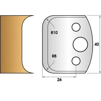 Paire de fers de toupie hauteur 40 n° 03 - Double congé 8 et 10