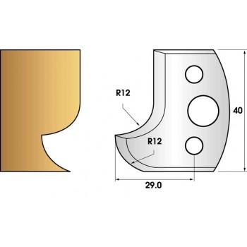 Paire de fers de toupie hauteur 40 n° 05 - Congé et quart de rond