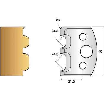 Paire de fers de toupie hauteur 40 n° 07 - Baguette