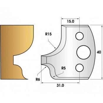 Paire de fers de toupie hauteur 40 n° 11 - doucine et quart de rond