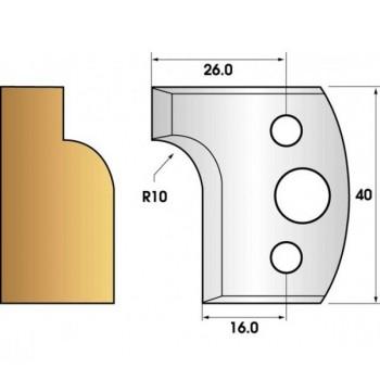 Paire de fers de toupie hauteur 40 n° 13 - congé rayon 10mm
