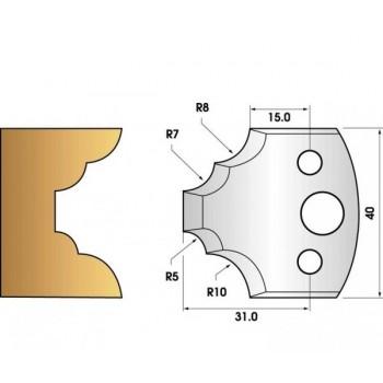 Paire de fers de toupie hauteur 40 n° 22 - quart de rond multiple