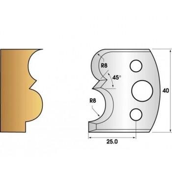 Paire de fers de toupie hauteur 40 n° 28 - tore et gorge