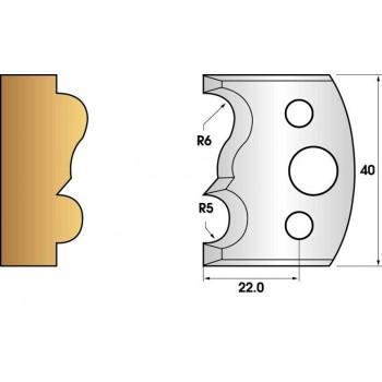 Paire de fers de toupie hauteur 40 n° 29 - moulure rayon 5 et 6mm