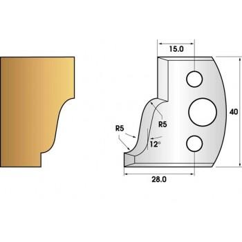 Paire de fers de toupie hauteur 40 n° 31 - doucine rayon 5mm