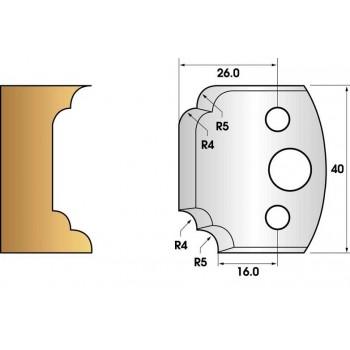 Paire de fers de toupie hauteur 40 n° 42 - multi quart de rond et congés