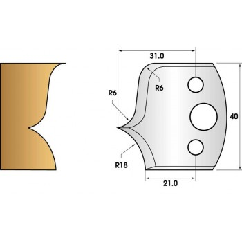 Paire de fers de toupie hauteur 40 n° 46 - rayon 18mm et doucine