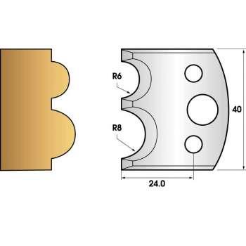 Paire de fers de toupie hauteur 40 n° 51 - boudin 6mm et 8mm