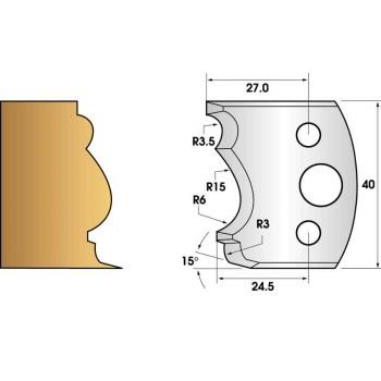 Paire de fers de toupie hauteur 40 n° 104 - moulure