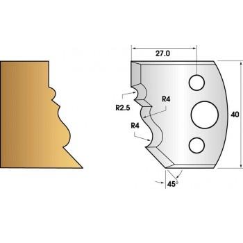 Paire de fers de toupie hauteur 40 n° 107 - moulure Louis XV