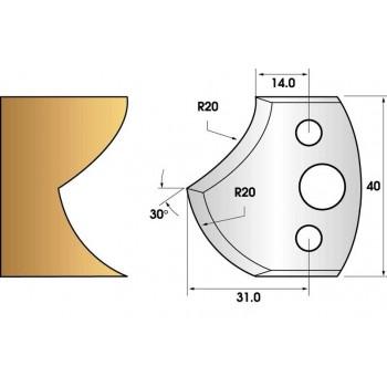 Paire de fers de toupie hauteur 40 n° 120 - rayon 20mm