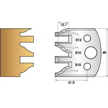Paire de fers de toupie hauteur 40 n° 124 - profil et contre-profil
