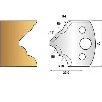Paire de fers de toupie hauteur 40 n° 125 - quart de rond multiple