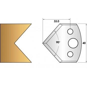 Paire de fers de toupie hauteur 40 n° 127 - chanfrein 45°