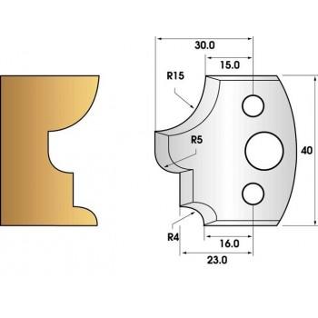 Paire de fers de toupie hauteur 40 n° 129 - moulures multiples