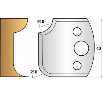 Paire de fers de toupie hauteur 40 n° 175 - 1/4 de rond 10 mm