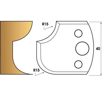 Paire de fers de toupie hauteur 40 n° 177 - 1/4 de rond 15 mm