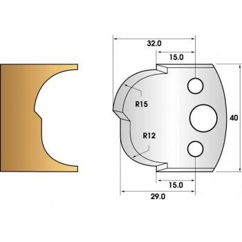 Paire de fers de toupie hauteur 40 n° 115 - congés 12 et 15mm