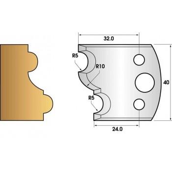 Paire de fers de toupie hauteur 40 n° 52 - profil multiple