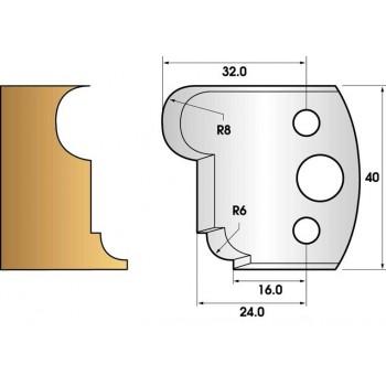 Paire de fers de toupie hauteur 40 n° 54 - gorge et congé