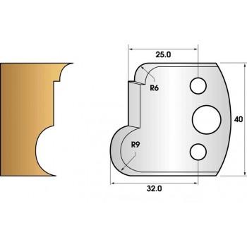 Paire de fers de toupie hauteur 40 n° 55 - gorge et congé